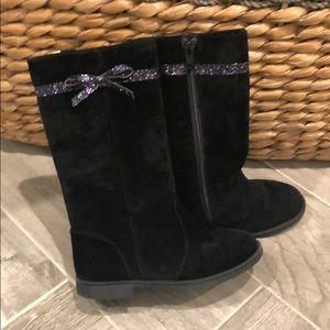 Black velvet tall boots